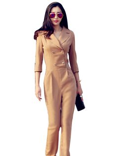 Stylish Solid Double Breasted Jumpsuit For Women