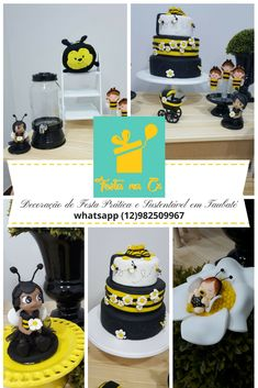 festa abelhinha amarelo preto e branco