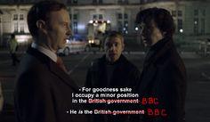 Another Valerie Foster original. Mark Gatiss/Mycroft doing it all.