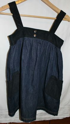 Guess GIRLS DESIGNER Dress Top Dark Denim & Black Suede SIZE L 10 to 12  #CL138