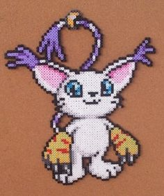 Gatomon or Guilmon Digimon bead sprite wall art by 8bitAndBeyond, $30.00