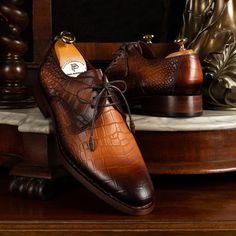 Paul Parkman Brown Crocodile Embossed Calfskin Goodyear Welted Derby Shoes (ID Derby Shoes, Goodyear Welt, Luxury Shoes, Crocodile, Men's Shoes, Oxford Shoes, Lace Up, Mens Fashion, Brown
