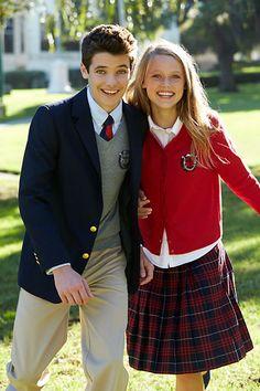 Preppy School Uniform Tartan Skirt Crested Cardigan Lands' End