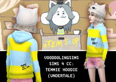 http://voodoolingsims.tumblr.com/post/133053477043/undertale-sims-4-cc-temmie-hoodie-hoi-hoi-wear