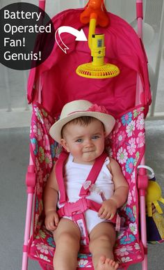 Clip on a battery operated fan to the stroller to keep nice and cool