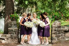 Dark Purple bridesmaid dresses and white bouquets! CLICK THIS PIN to see more from this charming Muskoka Wedding @Rachel A. Clingen Wedding & Event Design