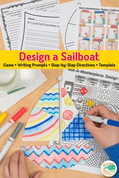 Here's a fun summer sailboat drawing game for elementary art students. Cute Art Projects, Summer Art Projects, Projects For Kids, Diy Crafts For Teen Girls, Summer Crafts For Kids, Drawing Games, Drawing For Kids, Sailboat Drawing, Art Sub Plans