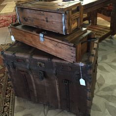 Trunks and vintage wooden crates and boxes Vintage Wooden Crates, Storage Chest, Trunks, Boxes, Furniture, Home Decor, Vintage Wood Crates, Stems, Homemade Home Decor