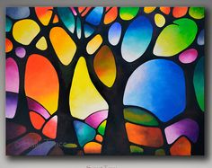Large Colorful Original Abstract Painting Commission, Geometric Landscape Tree Painting, Large Wall Art, Abstract Tree Painting, Sunset Art – Famous Last Words Tree Of Life Painting, Abstract Landscape Painting, Abstract Trees, Abstract Art, Geometric Painting, Geometric Art, Landscape Art, Painting Trees, Abstract Designs