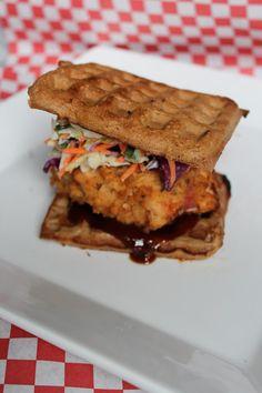 waffle fried chicken sammich