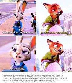 Zootopia: Nick Wilde and Judy Hopps. Disney Jokes, Funny Disney Memes, Disney Fun, Disney Magic, Disney Stuff, Nick Wilde, Disney And Dreamworks, Disney Pixar, Disney Films
