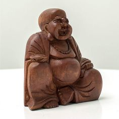 Fat Buddha Laughing - Handcrafted wood sculpture from Bali. Spiritual decoration for unique places. #art #bali #balinese #handcrafted #decoration #decorativeart #dekor #elyapımı #woodart #zanaat