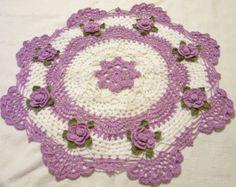 Rosas Rosa ganchillo tapete decoración casera hecha a por Aeshagirl