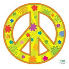 Peace Sign Groovy Decal- Yellow
