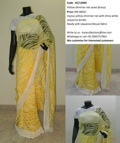 Yellow shimmer net saree (braso)