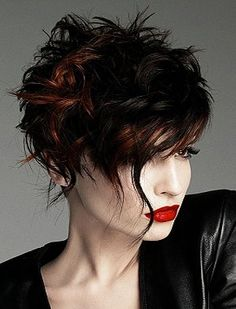 Short messy hairstyles are here. Messy hairstyles and short hair styles are here Short Textured Haircuts, Short Curly Hairstyles For Women, Asymmetrical Hairstyles, Messy Hairstyles, Curly Hair Styles, Hairstyle Short, Brown Hairstyles, Asymmetrical Pixie, Woman Hairstyles
