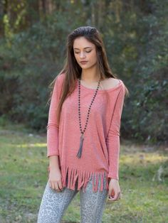 Hoping To Be With You Fringe Top - Peach from Chocolate Shoe Boutique