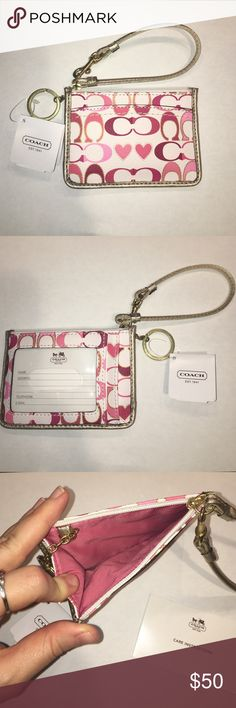 Coach Peyton Signature Heart ID Skinny 💎RARE💎 New with tags Coach Payton Signature Hearts ID skinny with strap and keychain. Features zipper top. Front has one clear open pocket for ID and additional open pocket behind. Back has one open pocket. Extremely rare!! Coach Accessories Key & Card Holders