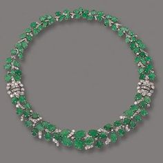 ART DECO EMERALD AND DIAMOND Necklace/bracelet, circa 1930, French