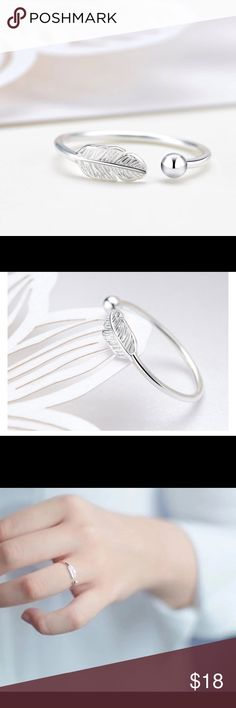 STERLING SILVER FEATHER OPEN RING  This is a Sterling Silver (925) dainty Feather open ring. It matches the Feather Bangle in my closet and it would go great with the feather earrings. It is a open ring to fit many sizes. Jewelry Rings