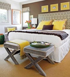 Yellow and gray. Bright for summer, but relaxing enough for nighttime | Gary Riggs Home | garyriggshome.com