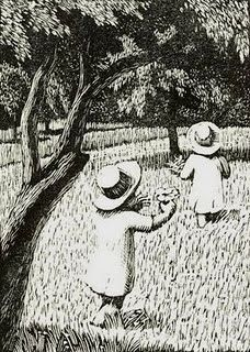 Children, wood engraving by Gwen Raverat, 1885-1957, English artist