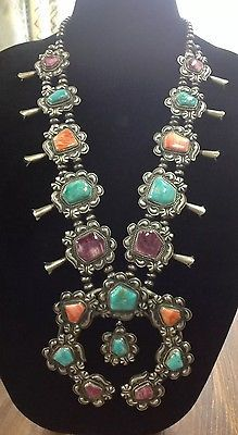 Navajo-Squash-Blossom-Necklace-Sterling-Silver-Turquoise-Spiney-Oyster