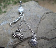 mermaid and crab and shell belly button ring-body by sindys