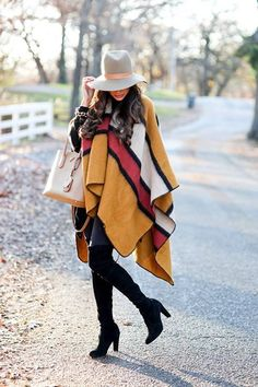 Capes and ponchos styling ideas http://www.justtrendygirls.com/capes-and-ponchos-styling-ideas/