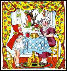 One of the best free clipart art libraries online: Little Red Riding Hood Story - Page 10 - Clip Art Library Red Riding Hood Story, Little Red Ridding Hood, Clip Art Library, Fairytale Art, Process Art, Big Eyes, Story Time, Vintage Children, Alice In Wonderland