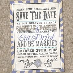 Vintage Retro Save The Date Wedding Announcement by partymonkey, $15.00