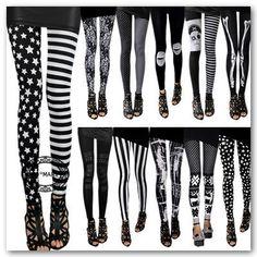 Black and White Print Women Rock Punk Funky Sexy Leggings Tights Pants | eBay