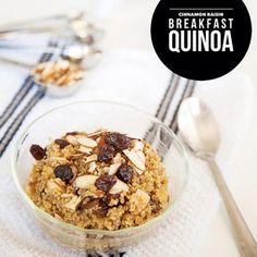 Cinnamon Raisin Breakfast Quinoa #ontheblog today! 1/4 cup uncooked quinoa 1/2 cup almond milk 1/4 cup raisins 2 Tbsp sliced almonds 1/2 tsp vanilla 1/4 tsp cinnamon  Bring quinoa, milk, vanilla, and cinnamon to a boil. Lower heat and cover for 10-15 minutes. Add raisins and almonds. Enjoy!