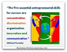 Micheal Faraday is one of the most renowned writers on Management Theories there are. With this quote, he simply describes the five main skills an entrepreneur must have, cleanly and precisely. Communication Quotes, Business Quotes, Writers, Online Business, Best Quotes, Entrepreneur, Finding Yourself, Management