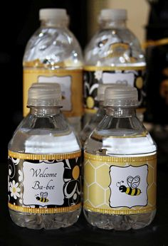 Bumble Bee Party Water / drink labels. Done here for a baby shower but could also be for birthday, etc.      #ReneesSoirees
