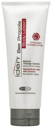 iden Bee Propolis Body Lotion Chitosan Moisturizer - 8 oz by iden bee propolis. $16.00. Iden Bee Propolis Body Lotion 8oz. iden Bee Propolis Body Lotion Chitosan MoisturizerNatural Therapy SystemSpeacial Body Lotion with Chitosan For All Skin Types.Hydrates and softens skinHelps to improve skin problemsProvides natural sun protection.