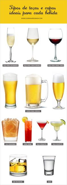 Tipos de taças e copos ideais para cada bebida. Bar Drinks, Cocktail Drinks, Alcoholic Drinks, Cocktails, Dining Etiquette, Etiquette And Manners, In Vino Veritas, Wine And Beer, Gastronomia