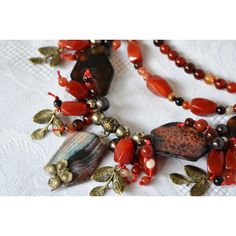 Red and Bronze Gemstone Statement Multi Strands Boho Necklace, Fashion... (5 065 UAH) ❤ liked on Polyvore featuring jewelry, necklaces, bohemian jewellery, beaded jewelry, red jewelry, cord jewelry and boho chic jewelry