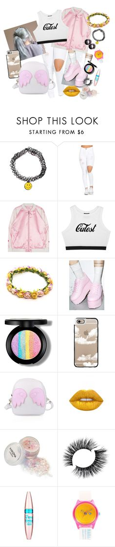 """""""☺️💖🌸"""" by fluffy-kitty ❤ liked on Polyvore featuring Y.R.U., Casetify, Lime Crime, Maybelline and Harajuku Lovers"""
