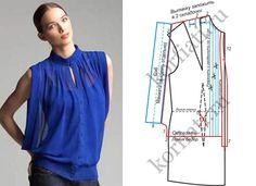 Эта блузка из шифона глубокого синего цвета - настоящая находка для модниц. Эта шифоновая блузка имеет много стильных деталей. Блузка из шифона с выкройкой
