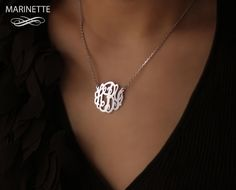 Monogram necklace  1 inch personalized by MarinetteJewelry on Etsy, $59.00