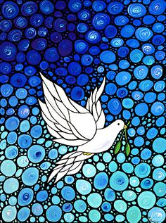 Peaceful Journey - White Dove Blue Mosaic Art by Sharon Cummings