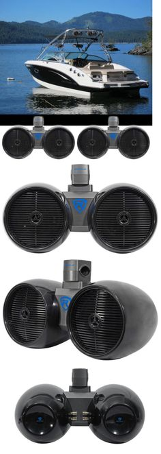 Marine Audio: 2) Rockville Dwb80b Dual 8 Black 1600W Marine Wakeboard Tower Speaker Systems -> BUY IT NOW ONLY: $234.99 on eBay!