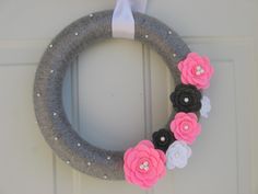 Modern Valentine Wreath,  Silver Grey, Pink, White and Charcoal Yarn and Felt Flower Wreath
