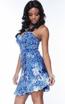 Blue A-Line/Princess Strapless,Sweetheart Empire Short/Mini Sleeveless Sequins Sequined Zipper Up Prom Dresses Dress