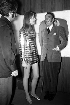 Francoise Hardy wearing a Paco Rabanne dress with Salvador Dali, Paris, 1968