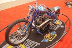 Bill Steele with Blue Baller, a Pan Shovel that features a smoothed chassis, foot clutch, jockey shift and a rebuilt, powder coated engine. | Cleveland IMS Ultimate Bike Builder, 1st Place Retro MOD Class