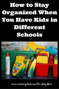 I have 5 kids in 5 different schools. I know the tips for how to stay organized. Here's how to get organized when the kids go back to school. How to Stay Organized When You Have Kids in Different Schools|The Holy Mess