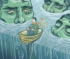 Submerged, Surreal Ink Painting | Digital Illustration Print | Home Decor & Wall Art | Sam Heelis