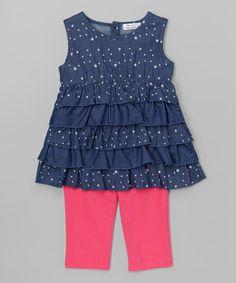 Look at this Dark Blue Denim Ruffle Tunic & Fuchsia Leggings - Toddler & Girls on #zulily today!